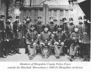 Shropshire Police outside the old Shirehall in 1868 ©Shropshire Archives 6319/8/7
