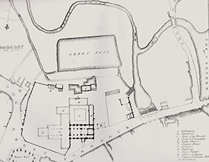 Plan of the Abbey showing the mill in 1825
