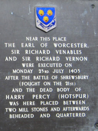 Part of plaque at the corner of St Mary's St and Castle St