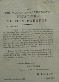 Benjamin Benyon's election poster
