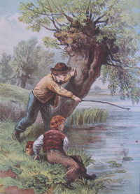 Boys Fishing – a Victorian illustration. An accident waiting to happen?