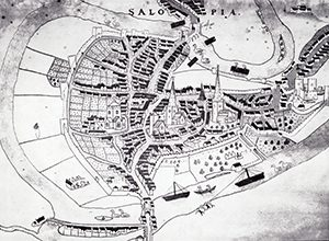 Burghley Map, c1575, showing the walls