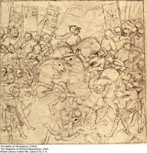 Carnage at Shrewsbury, from a print of 1483