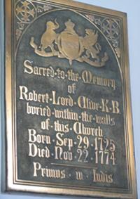 memorial tablet in Moreton Say Church