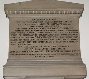 Memorial tablet in the Unitarian (formerly Presbyterian) Chapel