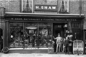 Henry Shaw's shop, 45 High St, taken in 1888 just after Henry died. One of the men outside is Henry's son Harry.