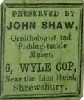 John Shaw's specimen label