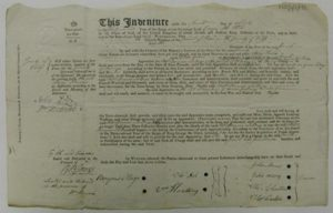 Mary Parsons' apprenticeship indenture for the Flax Mill, 1802