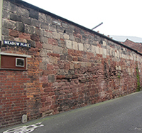 Surviving section of wall along Meadow Place