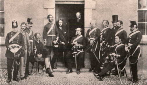 Militia officers outside the Armoury in 1858