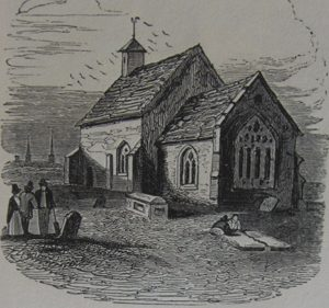 Gravediggers at work in St Giles' churchyard (mid 19th century)