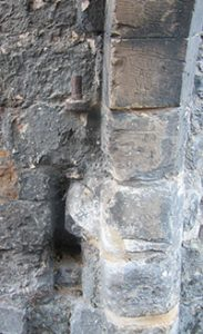 St Mary's Water Gate, with remains of hinges and recesses for bolts