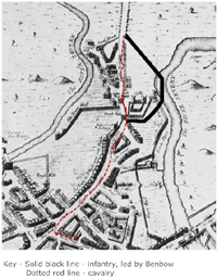 The taking of Shrewsbury, 1645, using Speed's map of 1610