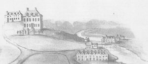 Figure 5 - Tern Hall (left), in c1701 with Tern Mill and workers cottages to the right. The mill was converted into a forge in 1710 (Used with permission of the Bodleian Libraries, University of Oxford, MS. Top. Salop.c.2, fol 616)