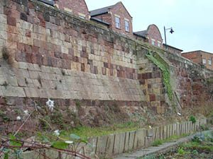 Surviving section of Town Wall, showing various phases of rebuilding