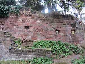 Town Wall behind 18 Wyle Cop, showing Civil War 'loopholes'