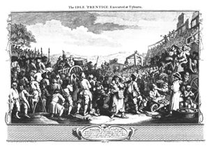 The crowds at a hanging in Tyburn, London (William Hogarth, 1697-1764)